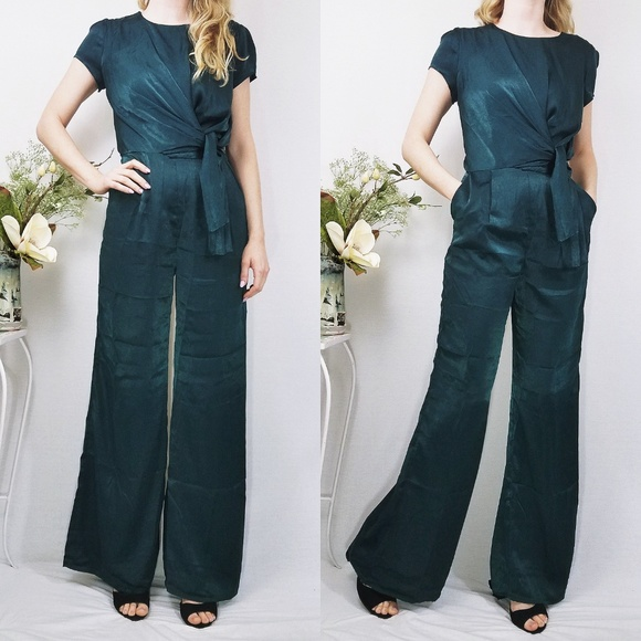 bdf29102bac Let Me Entertain You Forest Green Satin Jumpsuit